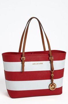 red and white michael kors handbag
