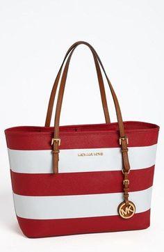 red and white michael kors handbag