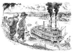 drawing of tom sawyer and huck finn Adventures Of Tom Sawyer, Adventures Of Huckleberry Finn, Dobbs Ferry, Ferry Boat, Toms, Drama, Drawings, Classic, Painting