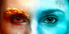 I see through the eyes of both fire and ice. When my fire rages the ice is there to cool me and when I grow to cold to fire is there to melt it. Ice Aesthetic, Character Aesthetic, Maquillaje Halloween, Halloween Makeup, Ice Makeup, Arte Yin Yang, Fire N Ice, Ice Powers, Fire Image