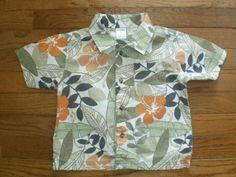 ALOHA SHIRT! BOYS toddler 2T GYMBOREE s/s HAWAIIAN leafy FLORAL so cute!