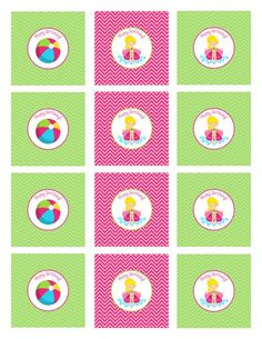 Cupcake toppers for Pool Party, printable DIY party decor, Girl Birthday Party favor tags, summer party supplies INSTANT DOWNLOAD