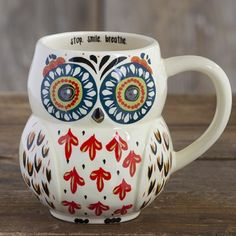 "Folk Owl Mugs - ""Stop. Smile. Breathe"" text Pinned by www.myowlbarn.com"