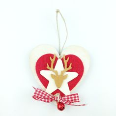 Cuore Renna Beige handmade wood heart reindeer decoration only by Daffodil Bijoux