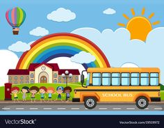 Scene with children and school bus on the road Vector Image School Bus Clipart, Cartoon School Bus, Kindergarten Interior, Kindergarten Art Lessons, School Board Decoration, School Decorations, Sea Murals, Art Classroom Management, Picture Composition