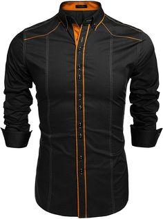 Men's Fashion Slim Fit Button Down Dress Shirt Long Sleeve Casual Shirt - Black - - Men's Clothing, Shirts, Casual Button-Down Shirts # # Slim Fit Casual Shirts, Slim Fit Dress Shirts, Fitted Dress Shirts, Long Sleeve Shirt Dress, Casual Button Down Shirts, Long Sleeve Shirts, Men Casual, Stylish Mens Outfits, Stylish Shirts