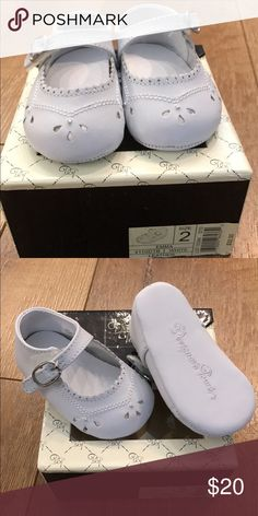 White, leather shoes White, leather shoes (size 2). Used for baptism for about 1 hr. but look brand new. Comes with box. Shoes Dress Shoes