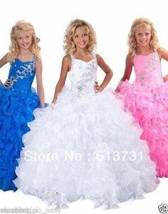 2014 White Little Girls Pageant Dresses Long Beaded Ruffles Flower Girl Dresses