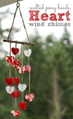 Beautiful melted bead kids craft for Valentine's day. We had a blast making this adorable wind chime!