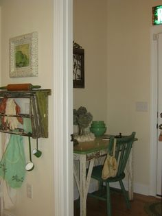 Vintage Drying Rack & Green and Cream Enamel Top Table