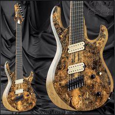 Multiscale Aries seven-string model from Kiesel Guitars Aries Taurus Cusp, Buckeye Burl, Bass Amps, Kiesel, Guitar Amp, Musical Instruments, Model, Electric Guitars, Showroom