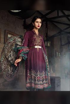 ff113b1016 Embroidered Neck Embroidered Daman Patch With Wool Shawl Trouser Included Maria  B, Linen Suit,