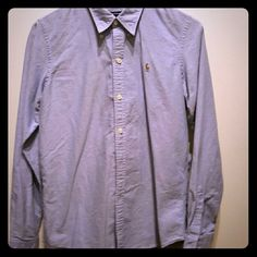 Ralph Lauren Slim Fit long sleeve shirt Light denim blue, slim fit.  Gently used.  No defects, stains, tears, etc... Ralph Lauren Tops Button Down Shirts