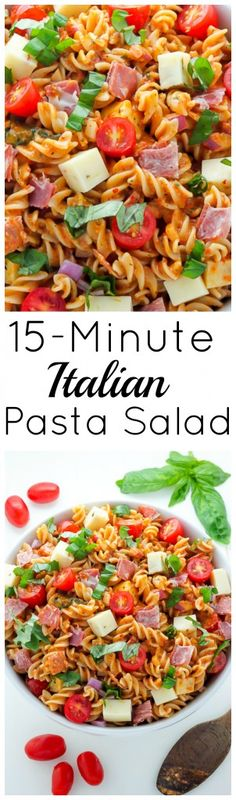 15-Minute Italian Pasta Salad! Perfect for parties, picnics, or as an easy dinner.