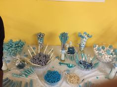 It's a boy winter themed candy buffet