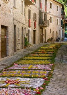 the first Sunday of June small villages around celebrate La Fiorita by decorating the streets in flower petals followed by a procession through town led by the priest, clergy, band, mayor & townspeople. This is one of the most beautiful traditions of our area honoring Corpus Cristi.