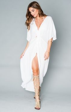 Get Twisted Maxi Dress ~ White Cloud