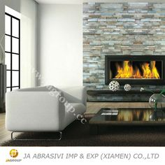Decoration Interial Stacked Stone Panel Fireplace In