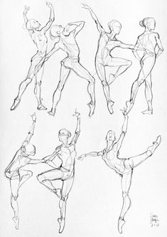 Ballet Ballerina Dancers Sketch Drawing Pose Illustration Inspiration - Uncredited