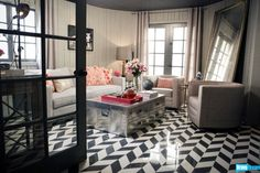 black and white herringbone marble floor {Jeff Lewis Designs}
