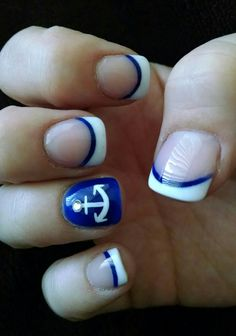 Nautical blue and white French tip acrylic nails with an accent anchor nail!  :)