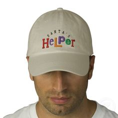 Santa's Helper Embroidery Hat Baseball Cap  -  Eclectic style Holiday Greeting - Santa's Helper on a cool Embroidery Hat.