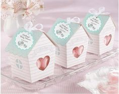 Lovely small house  baby birth shower party favor Candy Box, festival ceremony gifts packing ,100PCS/lot, Express free shipping $76.50