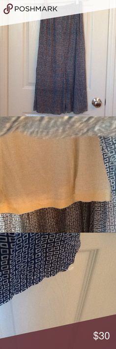 "Porridge Anthropology long skirt Geometric print.  100 modal and lined.  Very soft.  Unfinished hem.  Measures 29"" length.  Slight fishtail cut at bottom. Anthropologie Skirts Maxi"