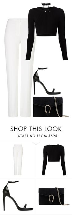 """Sans titre #1356"" by xoaninxo ❤ liked on Polyvore featuring ESCADA, Cushnie Et Ochs, Yves Saint Laurent, Gucci and Fallon"