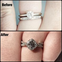 I get hundreds of emails from girls who want me to re-design their ring. I only take re-designs on a case by case scenario. Here is one that I just completed. Using all of the clients original diamonds and adding a few small ones to complete the design. I took a classic set of a solitaire and wedding band and turned it into a spectacular halo, reverse split design. #diamond #diamonds #wedding #weddings #engagement #ring #rings #bride #brides #jewellery #jewelry #makeover #redesign…