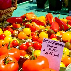 Fresh tomatoes are great for pizza sauces and then topped with fresh slices of mozzarella and herbs – all procured from the Kingston Public Market.