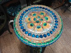 Quirky Mosaic tall table/plant stand 'peacock door NikkiEllaWhitlock