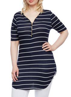 Plus Size Striped Rib Knit Tunic Top with Zip-Up Neckline - Rainbow - 0912058939840