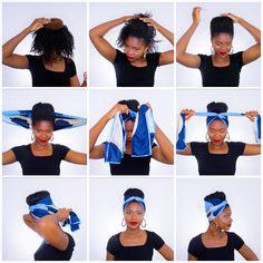 5 tuto coiffure foulard rectangulaire cheveux afro crépus