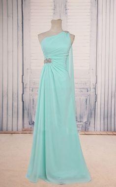 b5734ce48f7b One Shoulder Tiffany Chiffon Prom Dresses With Beaded Embellished Waistline  ,2016 Floor Length Chiff on