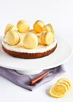 raspberri cupcakes: Cheesecake with Lemon Poppyseed Macarons Plain Cheesecake, Lemon Cheesecake, Cheesecake Recipes, Macarons, Macaron Cake, Sweet Desserts, No Bake Desserts, Macaron Flavors, Macaroon Recipes