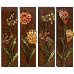 Beautiful Set of 4 Metal Wall Plaques Colorful Flower Designs Accent D Metal Wall Art Decor, Wall Decor Set, Tree Wall Art, Metal Art, Wall Decorations, Metal Butterfly Wall Art, Trendy Home Decor, Art Deco Diamond, Metal Flowers