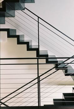 Cable stair railings with double frame of different dimensions Cable Stair Railing, Black Stair Railing, Black Stairs, Metal Stairs, Metal Railings, Stair Handrail, Staircase Railings, Modern Stairs, Balcony Railing