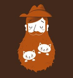 Norway's TST Troll Security Service, Hans and his Norwegian Forest Cats.  Cat Bearding