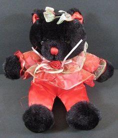 "9"" Black Red VALENTINE BEAR Dressed Ribbons Tulle TB Trading Vintage Plush B254"