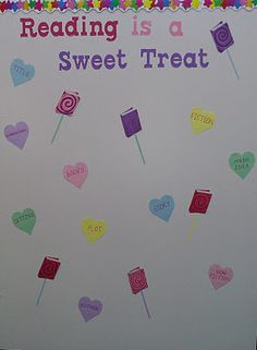 Apples to Applique: Reading is a Sweet Treat Cupcake Bulletin Boards, Valentines Day Bulletin Board, Reading Bulletin Boards, Winter Bulletin Boards, Bulletin Board Display, Classroom Bulletin Boards, Preschool Bulletin, Classroom Door, Library Themes