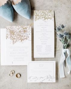 """All the heart eyes for gold foil and dusty-blue details. """"Sketched Bouquet"""" foil invitation and program Different Wedding Ideas, Wedding Stationery Inspiration, Classic Wedding Invitations, Bridesmaids And Groomsmen, Heart Eyes, Dusty Blue, Wedding Details, Summer Wedding, Gold Foil"""