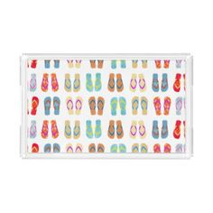 Colorful Summer Beach Flip Flops Sandals Tray Rectangle Serving Trays