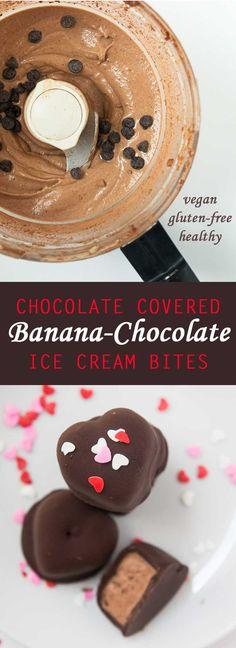 Chocolate Covered Banana-Chocolate Ice Cream Bites #vegan #glutenfree #healthy | www.Vegetariangastronomy.com