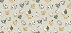 Rare Breeds Aqua (PW78007/1) - Baker Lifestyle Wallpapers - A small scale chicken design with rare breed hens, with bright red heads on a matt aqua blue green background. Other colours available. Please request sample for true colour match. Wide width.