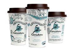 o em forma de ilustração em seus copos de café, com design de Colle+McVoy.