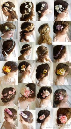 flowers in hair. Like the third down on the far right. All white flowers