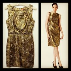 Tory Burch 595.00 'elsbeth' gold/metallic striped party dress sz. 4; RR PRICE: 225.00 #toryburch    http://resaleriches.mybisi.com/product/tory-burch4