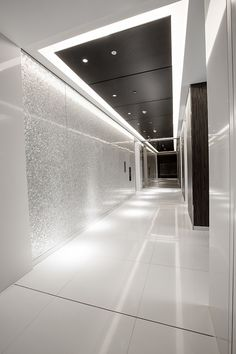 elevator lobby with mother of pear accent wall from shellshock design