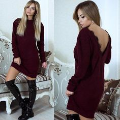 Lossky Sexy Backless Lace Patchwork Winter Dress Vestidos 2017 Black Women Casual Long Sleeve O-neck Mini Bodycon Dress Dresses Elegant, Sexy Dresses, Short Dresses, Plus Size Party Dresses, Club Dresses, Dress For Short Women, Casual Dresses For Women, Trendy Outfits, Dress Casual